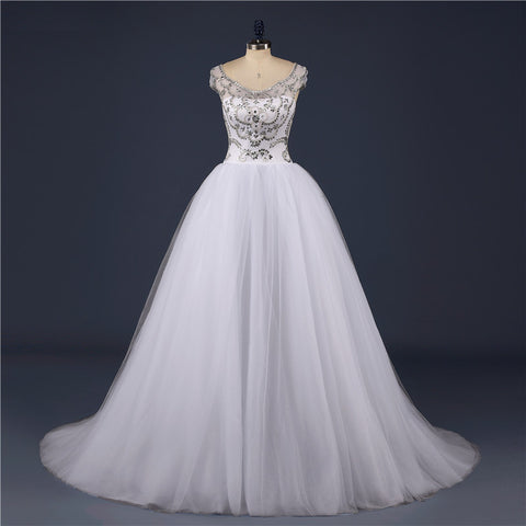 Cap Sleeve Crystal Beaded Wedding Dress