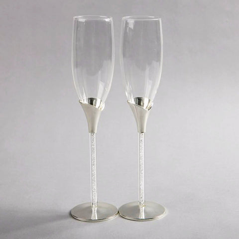 Crystal Filled Stem, Brushed Silver Plated Metal and Glass Champagne Glass Flute Set