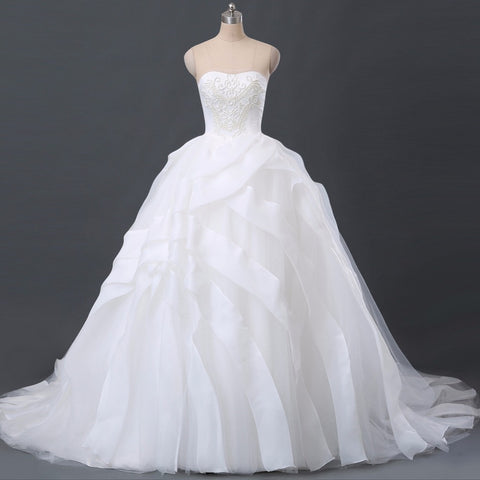 Pearl Beaded Organza and Tulle Layered Wedding Dress