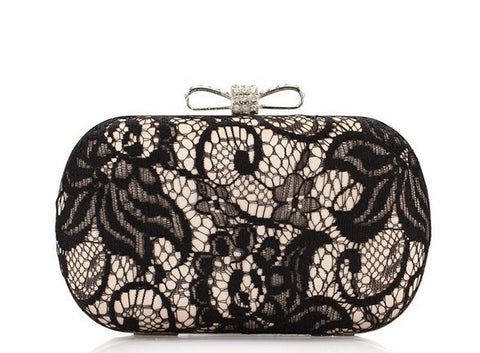 Black Lace Satin Bow Clutch