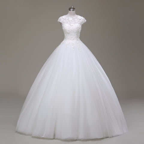 Short Sleeve Lace and Tulle Ball Gown