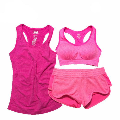 3 Piece Workout Set w/ Cotton Shorts