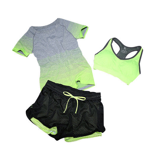 3 Piece Workout Set w/ Mesh Shorts