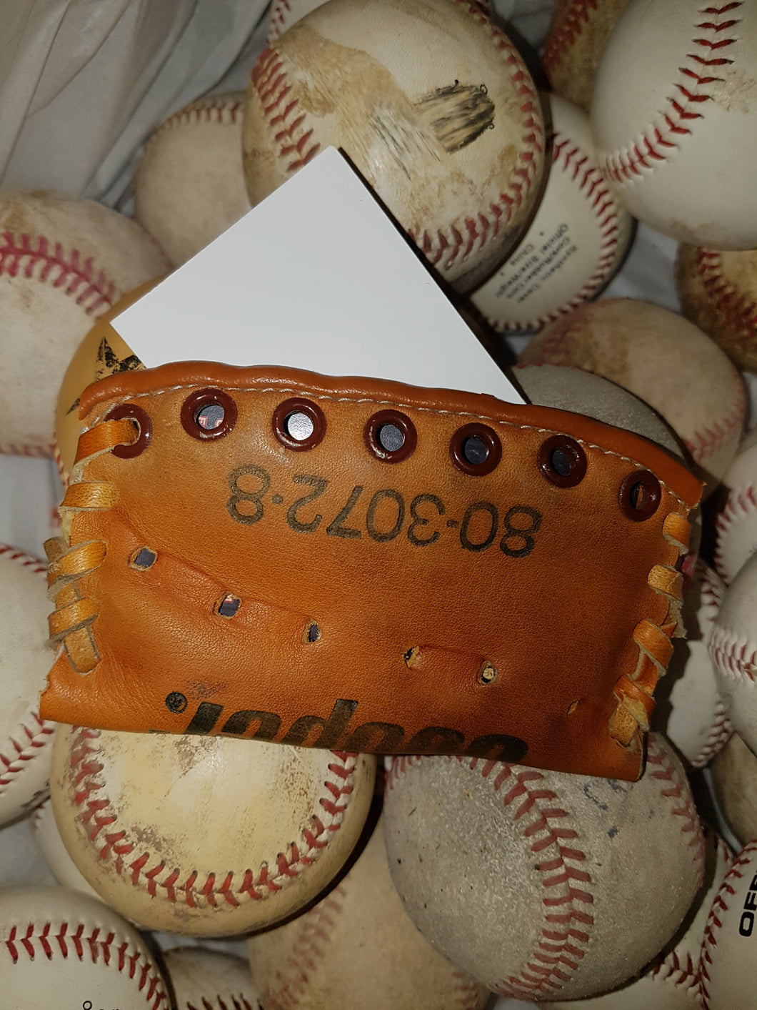 Cooper Repurposed Baseball Glove Business Card Holder