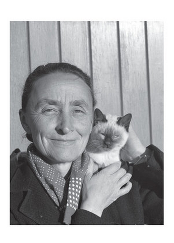 Georgia O'Keeffe with Siamese Cat