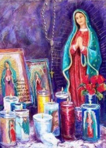 Guadalupe with Votives - Notecard