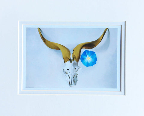 Ram's Head, Blue Morning Glory - Matted Notecard