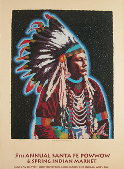 Santa Fe Powwow and Spring Indian Market poster, 1995
