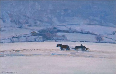 Winter Snow Scene with Horse and Wagon