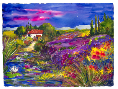 Provence Pond in Purple
