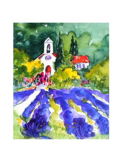 Lavender Fields and Church