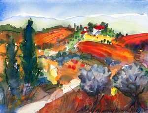 Distant Tuscan Village