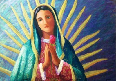 Guadalupe with Rose - Notecard