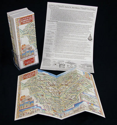 Historic Folding Walking Map of Santa Fe