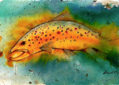 Diving Orange Trout