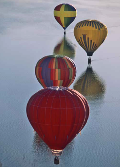 Balloons Over Water - notecard