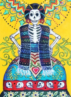 Folk Art Calavera - Notecard