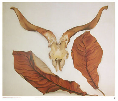Ram's Skull with Brown Leaves