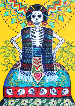 Folk Art Calavera - canvas