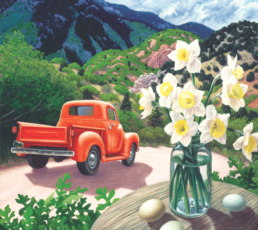 Red Truck and Daffodils