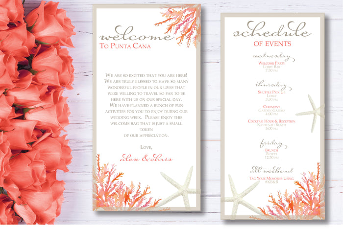 Personalized Wedding Welcome Letter & Itinerary - Living Coral
