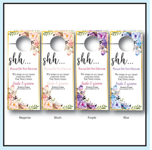 Destination Wedding Door Hangers | Do Not Disturb Sign - Available Colors