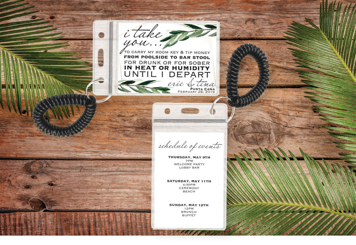 Personalized Destination Wedding Room Key Holder and Itinerary - Greenery