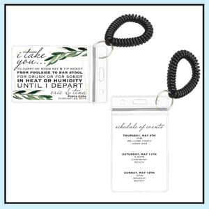 Greenery Destination Wedding Room Key Holder