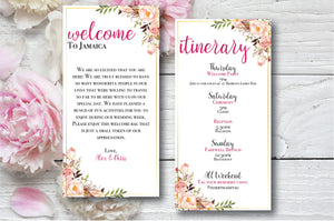 Personalized Destination Wedding Welcome Letter and Itinerary | Floral