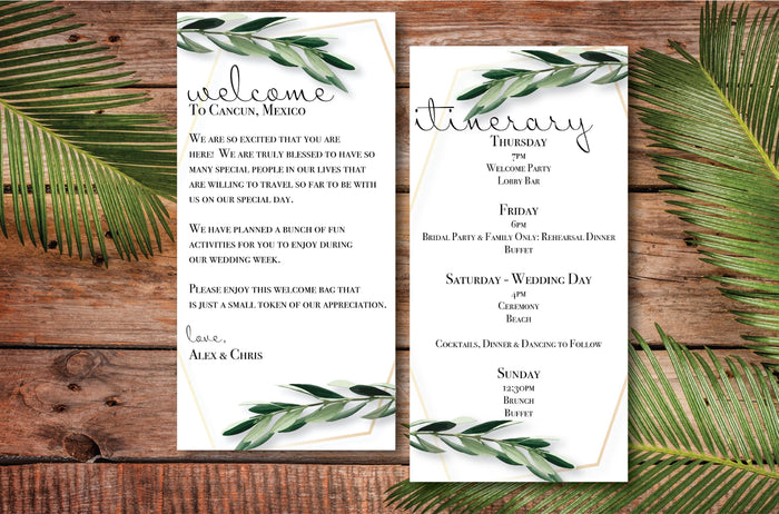 Personalized Wedding Welcome Letter & Itinerary - Greenery