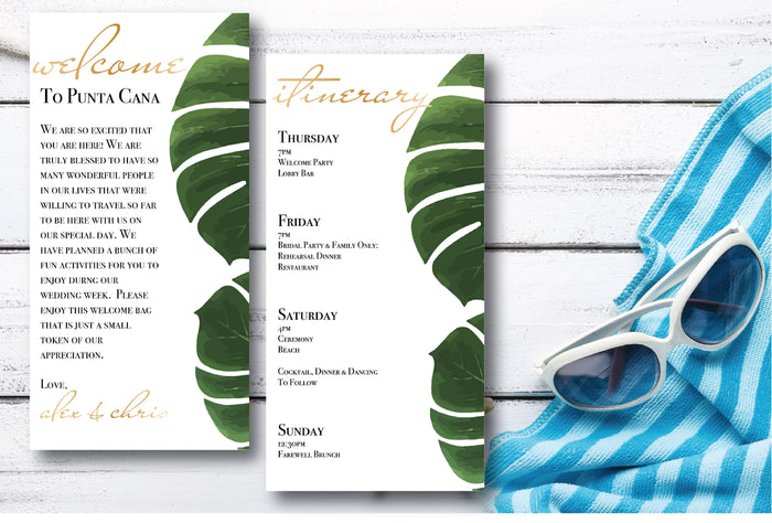 Personalized Wedding Welcome Letter & Itinerary - Palm