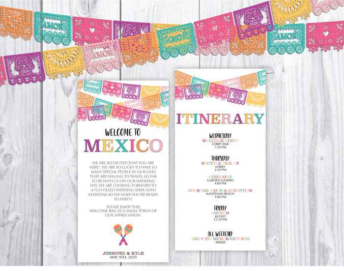 Personalized Wedding Welcome Letter & Itinerary - Papel Picado
