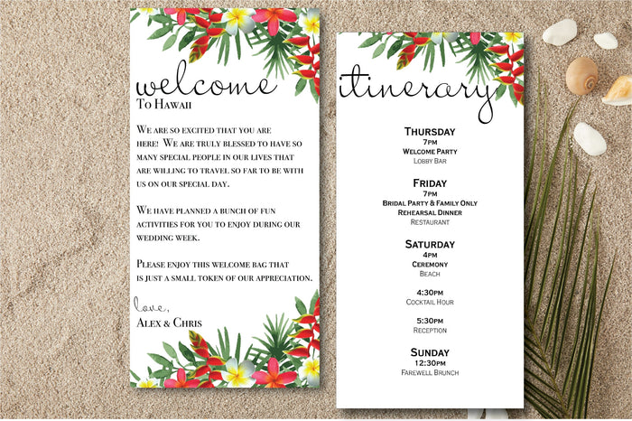 Personalized Wedding Welcome Letter & Itinerary - Tropical