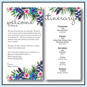 Blue | Tropical Wedding Welcome Letter & Itinerary