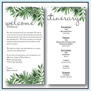 Green | Tropical Wedding Welcome Letter & Itinerary