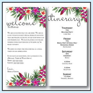 Purple | Tropical Wedding Welcome Letter & Itinerary
