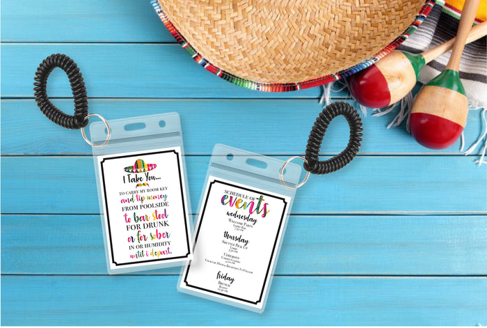 Personalized Destination Wedding Room Key Holder and Itinerary - Fiesta