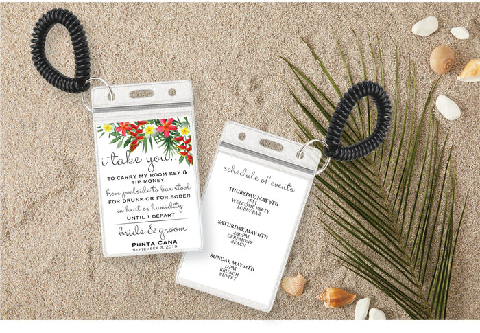 Personalized Destination Wedding Room Key Holder and Itinerary - Tropical