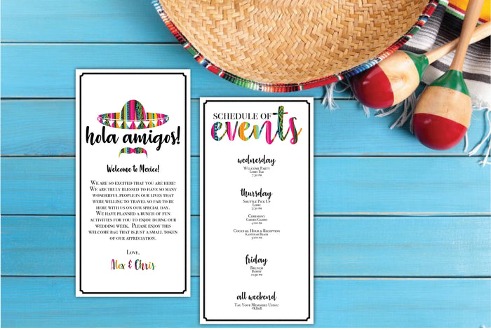 Personalized Wedding Welcome Letter & Itinerary - Fiesta