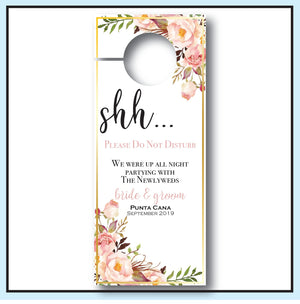 Blush Wedding Door Hangers