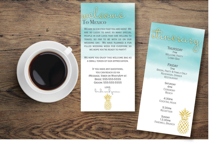 Personalized Wedding Welcome Letter & Itinerary - Pineapple