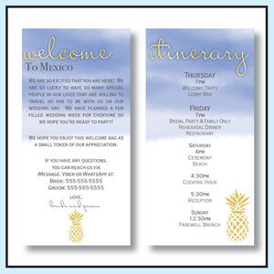 Blue | Pineapple Destination Wedding Welcome Letter & Itinerary