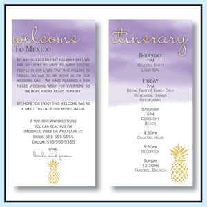 Purple | Pineapple Destination Wedding Welcome Letter & Itinerary