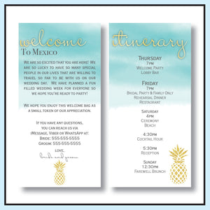 Teal | Pineapple Destination Wedding Welcome Letter & Itinerary