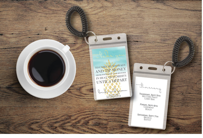 Personalized Destination Wedding Room Key Holder and Itinerary - Pineapple