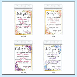 Personalized Destination Wedding Room Key Holder and Itinerary - Floral