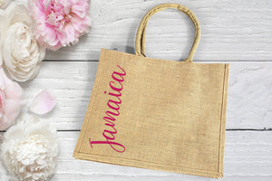 Burlap Destination Wedding Welcome Bag personalized with magenta pink vertical text
