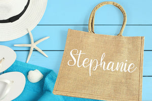 Burlap Wedding Welcome Bag personalized with name in white