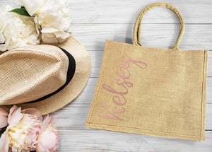 Burlap Destination Wedding Welcome Bag personalized with vertical name in rose gold