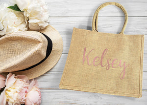 Burlap Wedding Welcome Bag personalized with rose gold name